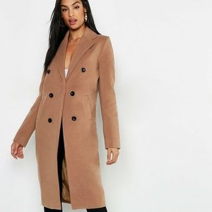 Boohoo Tall Double Breasted Coat